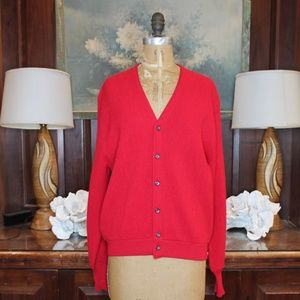 Vintage Red Wool and Alpaca Cardigan